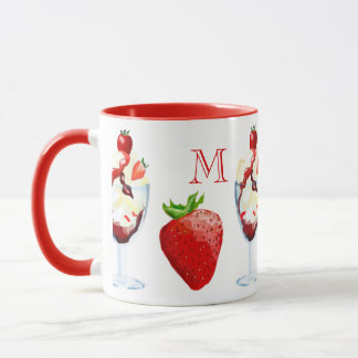 Monogrammed Strawberry Sundae Vanilla Chocolate Mug