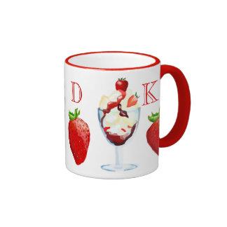 Monogrammed Strawberry Sundae Vanilla Chocolate Ringer Coffee Mug