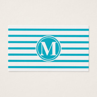 Monogrammed Stripes Pattern Scuba Blue Business Card