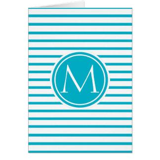 Monogrammed Stripes Pattern Scuba Blue Card
