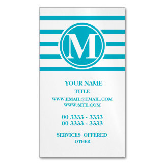 Monogrammed Stripes Pattern Scuba Blue Magnetic Business Card