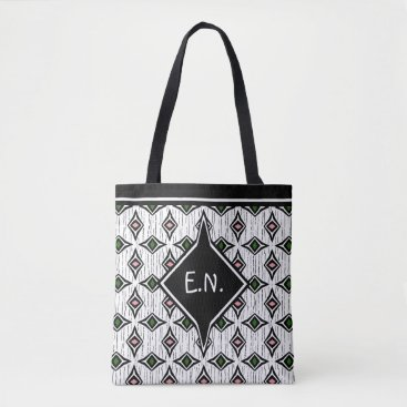 Aztec Themed Monogrammed stylis emerald green and pink diamond tote bag
