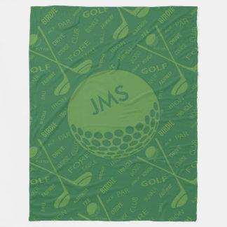 Monogrammed Subtle Golfer Pattern Fleece Blanket
