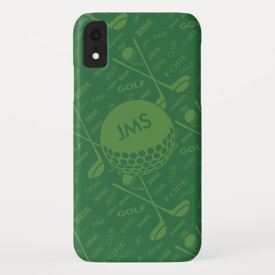 Monogrammed Subtle Golfer Pattern iPhone XR Case