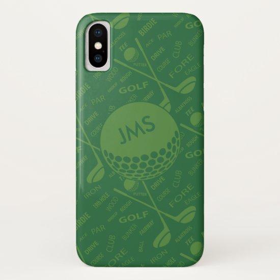 Monogrammed Subtle Golfer Pattern iPhone XS Case