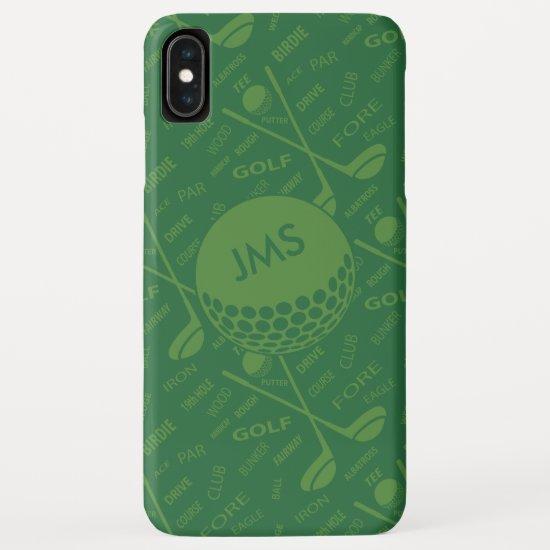 Monogrammed Subtle Golfer Pattern iPhone XS Max Case