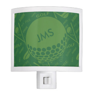 Monogrammed Subtle Golfer Pattern Night Light