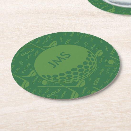 Monogrammed Subtle Golfer Pattern Round Paper Coaster