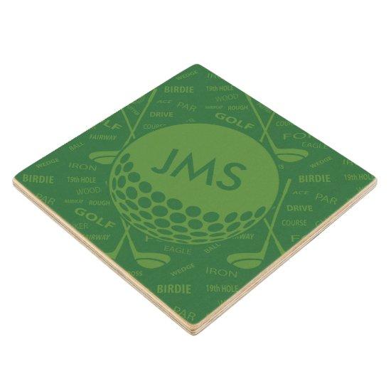 Monogrammed Subtle Golfer Pattern Wood Coaster