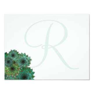 Monogrammed Succulents Little Flat Note Cards
