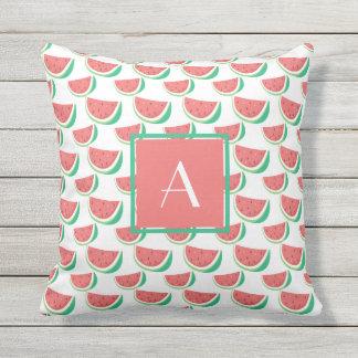 monogrammed summer outdoors pillows watermelon