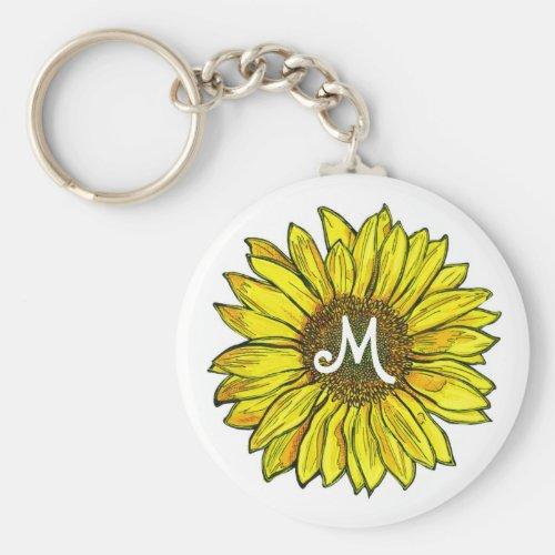 Monogrammed Sunflower Keychain