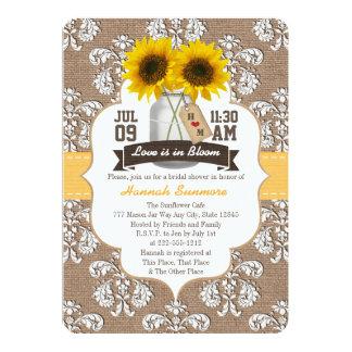 Monogrammed Sunflower Mason Jar Bridal Shower Card