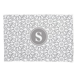 Monogrammed Sunflower Pattern Pillow Case