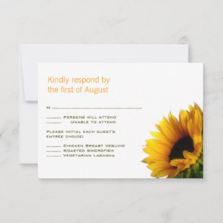 Monogrammed Sunflower RSVP Card