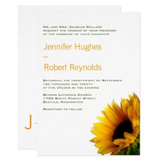 Monogrammed Sunflower Wedding Invitation