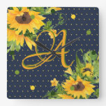 Monogrammed Sunflowers Navy Blue Yellow Decor Square Wall Clock