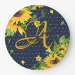 Monogrammed Sunflowers Navy Blue Yellow Modern Large Clock