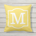 Monogrammed | Sunshine Yellow and White Throw Pillow