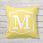 "Monogrammed | Sunshine Yellow and White Throw Pillow<br><div class=""desc"">Stylish square outdoor accent pillow features a monogram initial with decorative frame in white color with vibrant sunshine yellow background color. Customize the background to coordinate with your outdoor decor.</div>"