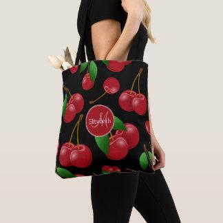 monogrammed sweet red cherries pattern tote bag