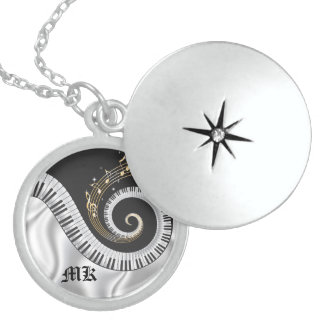 Monogrammed Swirled Piano Sterling Silver Locket N