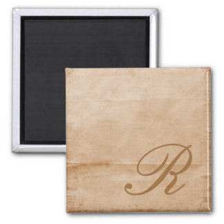 Monogrammed-tan 2 Inch Square Magnet