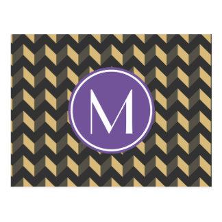 Monogrammed Tan and Gray Chevron Patchwork Pattern Postcard