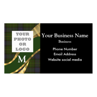 Monogrammed tartan plaid pattern and logo business cards