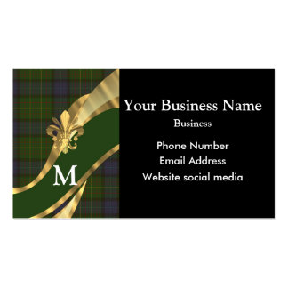 Monogrammed tartan plaid pattern business card