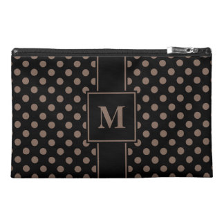 Monogrammed Taupe on Black Polka Dots Travel Accessories Bag
