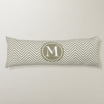 Monogrammed Taupe & White Zigzag - Body Pillow #1
