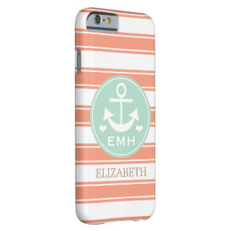 MONOGRAMMED TEAL AND CORAL ANCHOR BARELY THERE iPhone 6 CASE