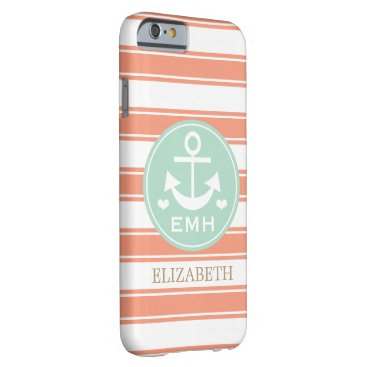 Beach Themed MONOGRAMMED TEAL AND CORAL ANCHOR BARELY THERE iPhone 6 CASE