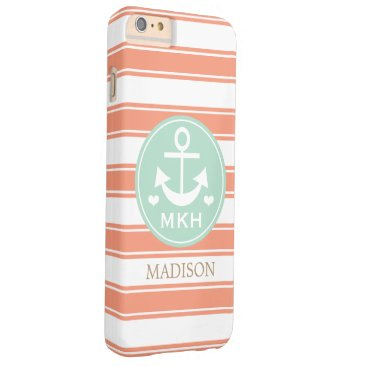 Beach Themed MONOGRAMMED TEAL AND CORAL ANCHOR BARELY THERE iPhone 6 PLUS CASE