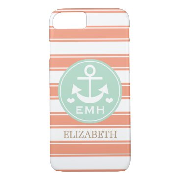 Beach Themed MONOGRAMMED TEAL AND CORAL ANCHOR iPhone 7 CASE