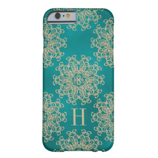 Monogrammed Teal and Gold Exotic Medallion Barely There iPhone 6 Case