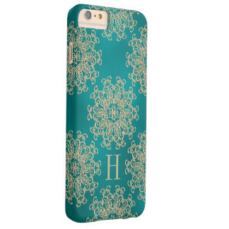 Monogrammed Teal and Gold Exotic Medallion Barely There iPhone 6 Plus Case