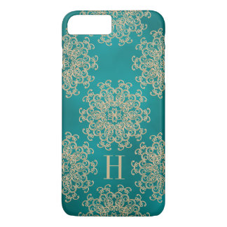 Monogrammed Teal and Gold Exotic Medallion iPhone 8 Plus/7 Plus Case