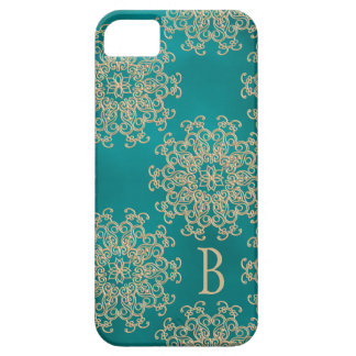 Monogrammed Teal and Gold Indian Pattern iPhone 5 Covers