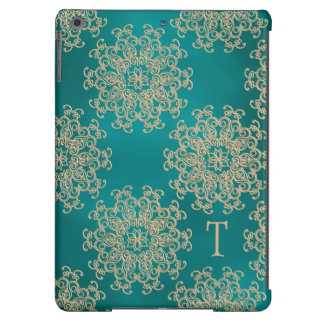 MONOGRAMMED TEAL AND GOLD INDIAN PRINT iPad AIR CASE