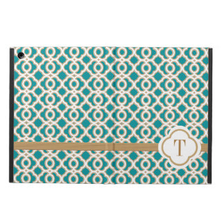 MONOGRAMMED TEAL AND GOLD MOROCCAN iPad AIR CASE