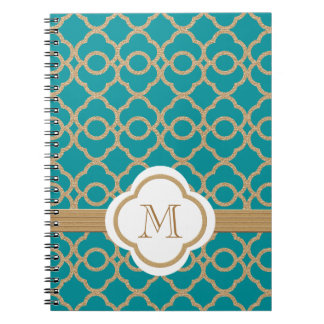 Monogrammed Teal and Gold Moroccan Notebook