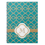 Monogrammed Teal and Gold Moroccan Spiral Notebooks