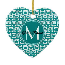 Monogrammed Teal and White Owls Ceramic Ornament