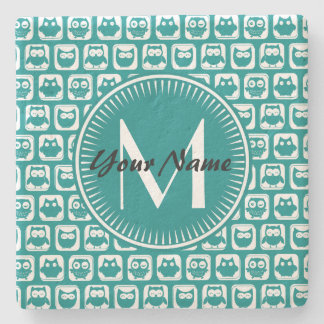 Monogrammed Teal and White Owls Stone Coaster