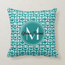Monogrammed Teal and White Owls Throw Pillow
