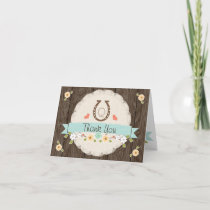 Monogrammed Teal Aqua Horseshoe Western Thank You