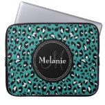 Monogrammed Teal Black White Leopard Pattern Laptop Computer Sleeve
