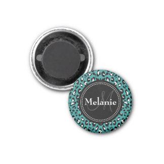 Monogrammed Teal Black White Leopard Pattern Refrigerator Magnet